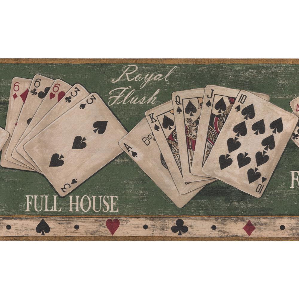 Retro Art Poker Vintage Green Poker Combinations Prepasted Wallpaper Border