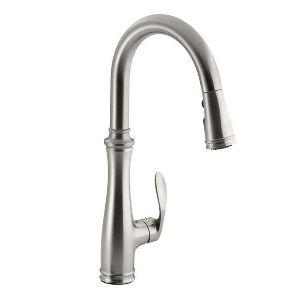 Kohler Bellera Single Handle Pull Down Sprayer Kitchen Faucet With Docknetik And Sweep Spray