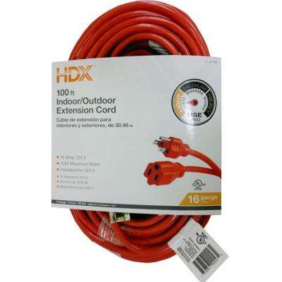100 ft. 16/3 Indoor/Outdoor Extension Cord, Orange