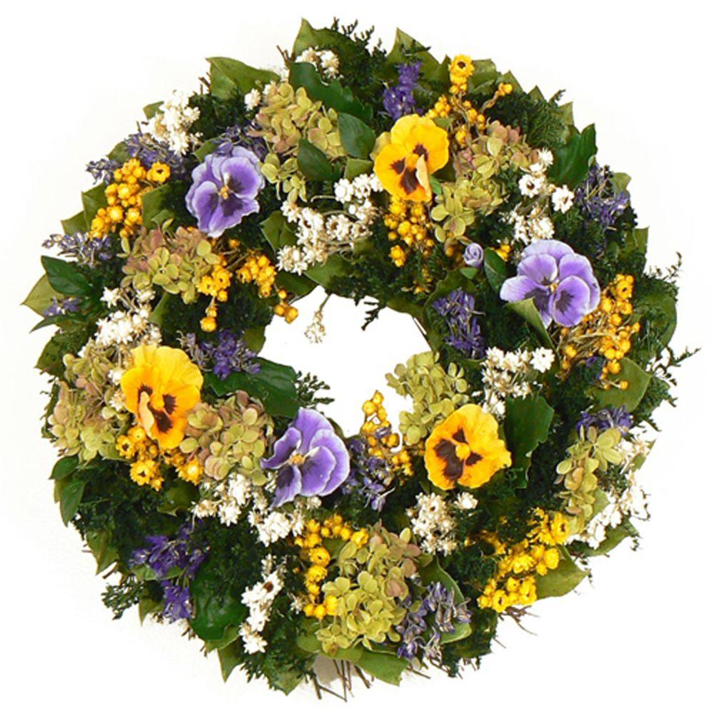 The Christmas Tree Company Pansy Picnic 16 in. Dried Floral Wreath-DISCONTINUED