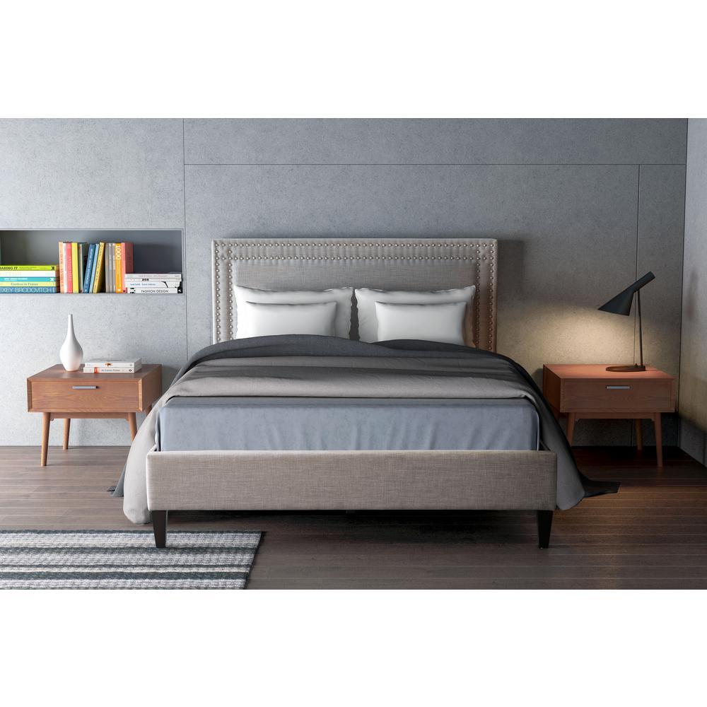 Zuo Renaissance Dove Gray King Sleigh Bed 100572 The