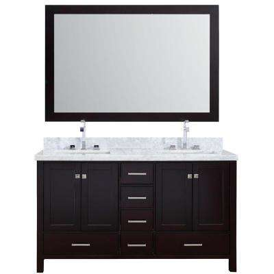 Cambridge 61 in. Vanity in Espresso with Carrara Marble Vanity Top in White with White Basin and Mirror