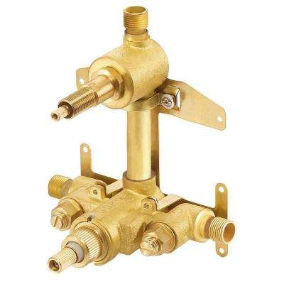 2-Handle 1/2 in. Thermostatic Shower Valve with Stops in Rough Brass