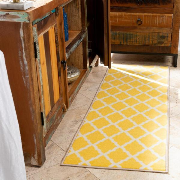 Reviews For Ottomanson Glamour Collection Contemporary Moroccan Trellis Design Yellow 2 Ft X 5 Ft Kids Runner Rug Pnk7021 20x59 The Home Depot