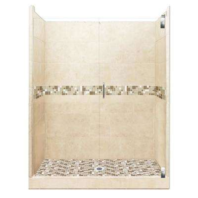 Tuscany Grand Hinged 32 in. x 60 in. x 80 in. Center Drain Alcove Shower Kit in Desert Sand and Chrome Hardware