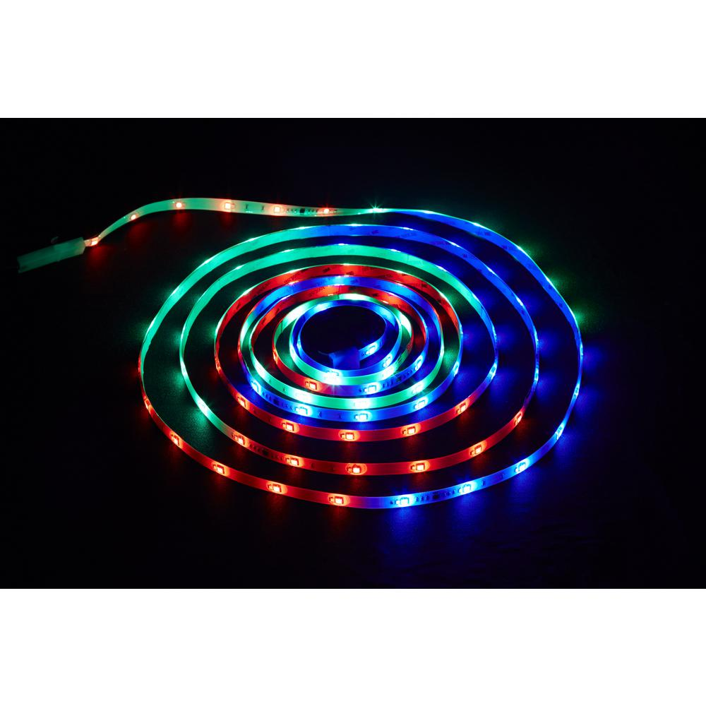 Commercial Electric 18 ft. LED Connectible Indoor/Outdoor Color Changing (White and RGB) Tape ...