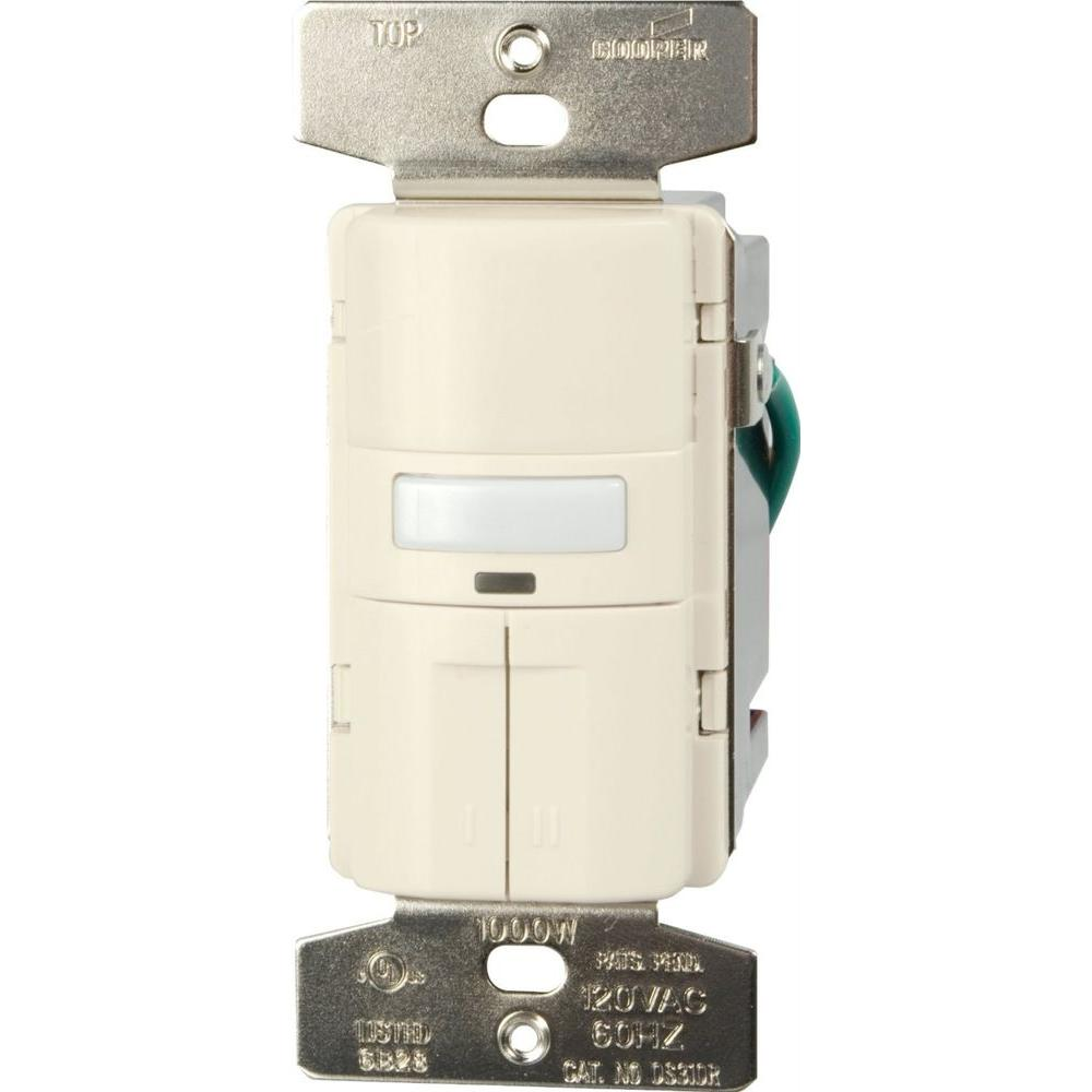 Eaton Savant Motion Activated Vacancy Sensor Dual Wall Switch With Wiring Lights In Series Color Change Kit White