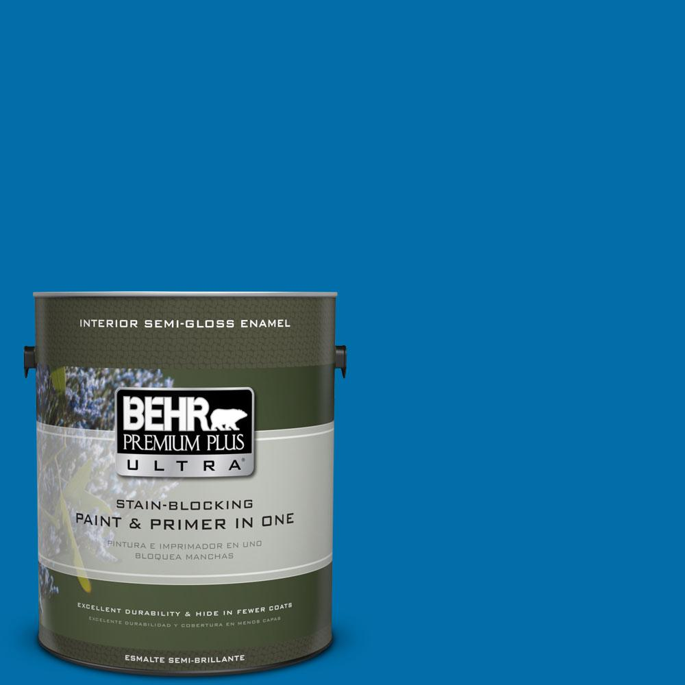 BEHR Premium Plus Ultra 1-gal. #560B-7 Cerulean Semi-Gloss Enamel Interior Paint