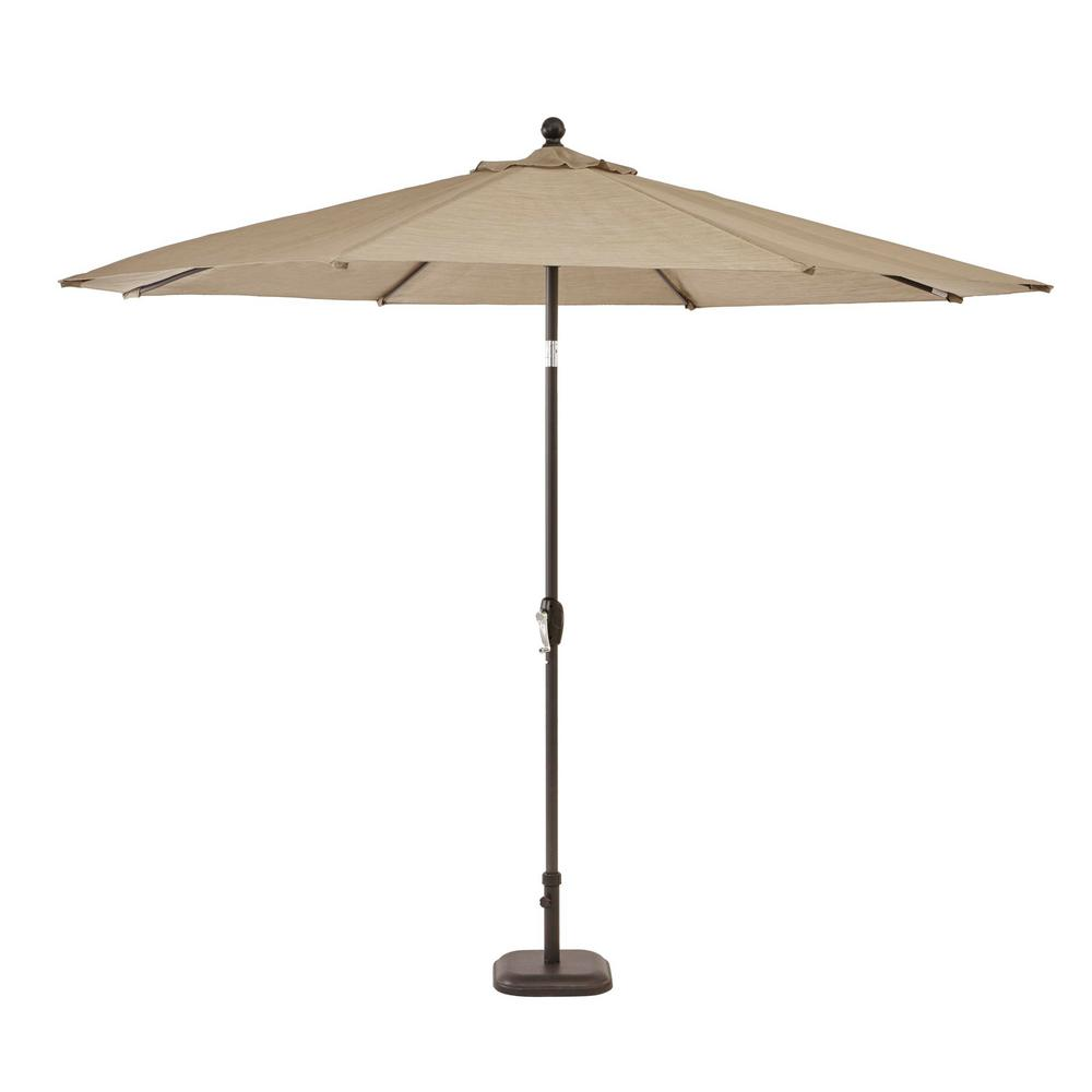 Hampton Bay Crestridge 10 ft. Steel Market Patio Umbrella in Sling