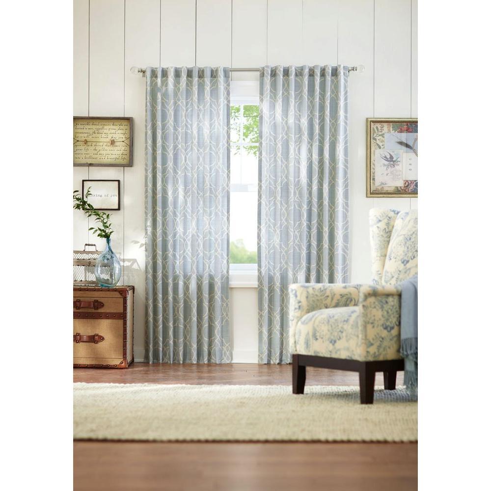 Semi-Opaque Spring Blue Garden Gate Back Tab Curtain