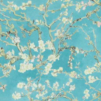 Almond Blossom Bold Floral Wallpaper Turquoise Paper Strippable Roll (Covers 57 sq. ft.)