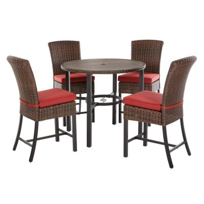 Harper Creek Dark Brown 5-Piece Wicker Outdoor Bar Height Dining Set with Chili Cushions