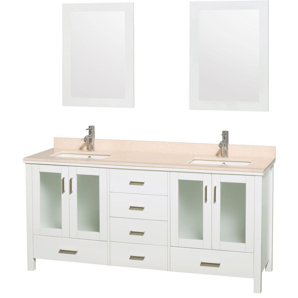 Double Vanity White Marble Vanity Top Ivory White Undermounted