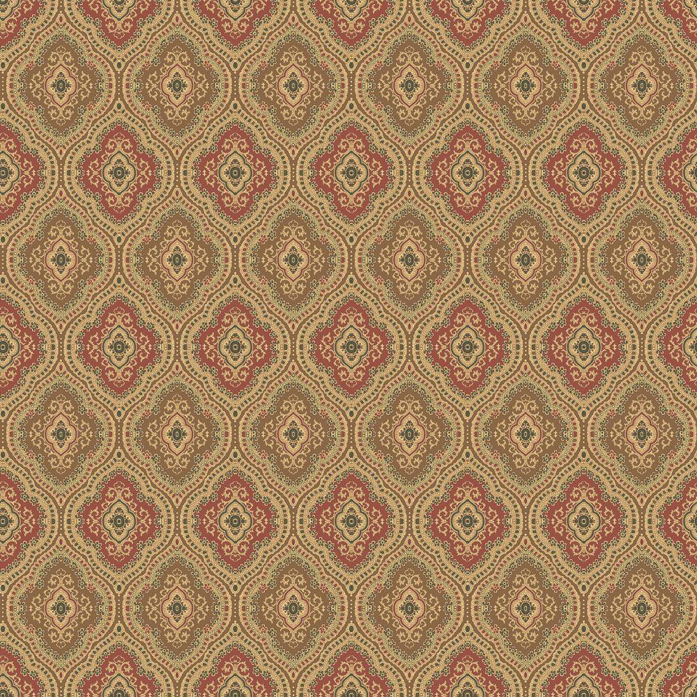 The Wallpaper Company 8 in. x 10 in. Red and Brown Traditional Paisley Wallpaper Sample