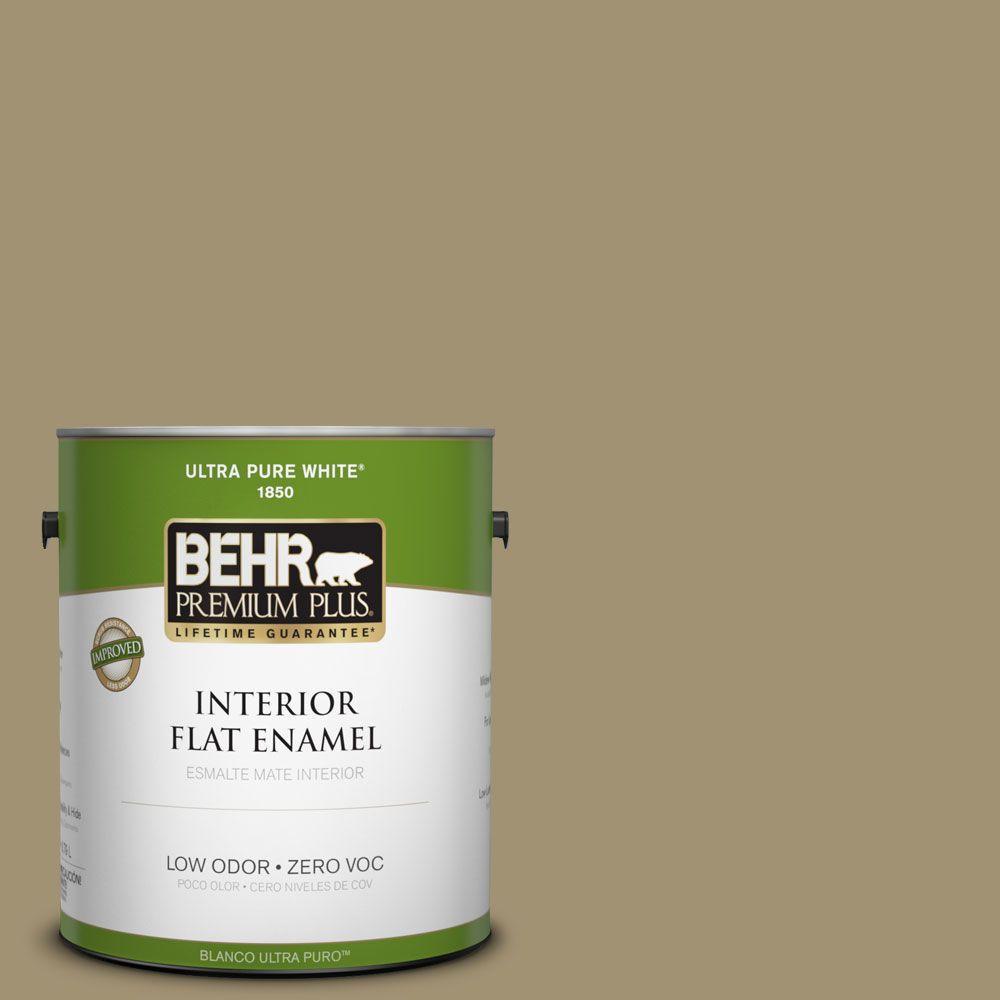 BEHR Premium Plus 1-gal. #380F-6 River Bank Zero VOC Flat Enamel Interior Paint-DISCONTINUED