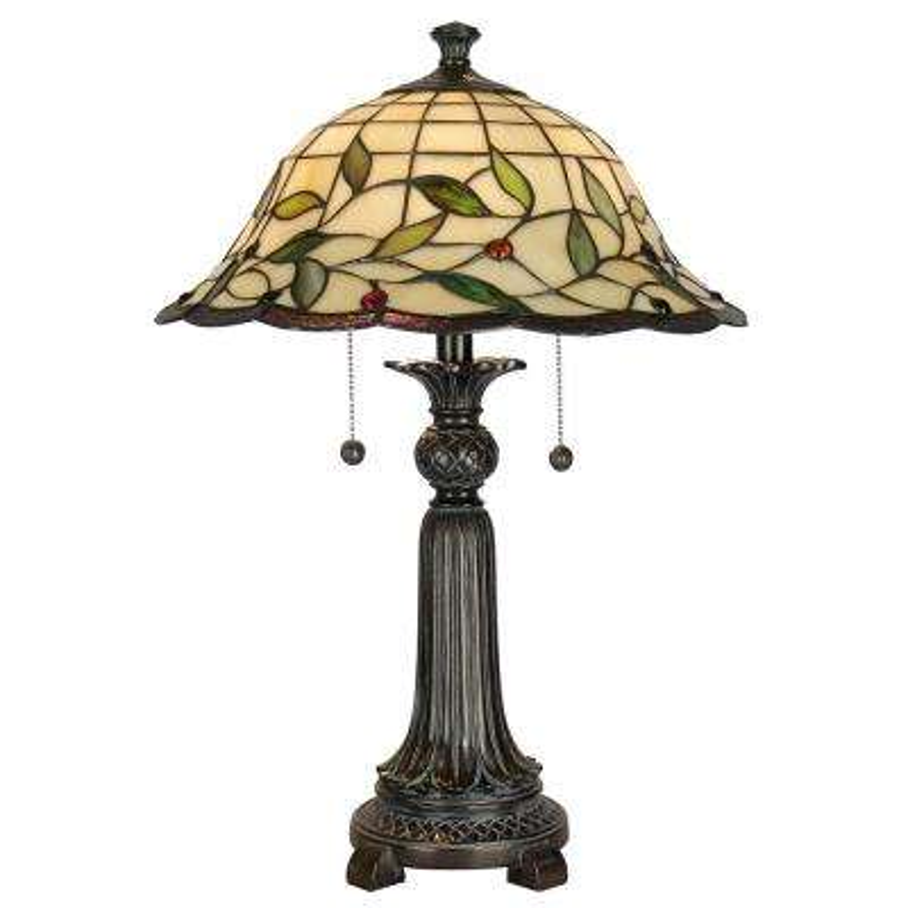 23 in. Mica Bronze Donavan Table Lamp with Tiffany Art Glass Shade