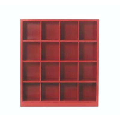 Lachlan 53.25 in. x 60 in. Red 16-Cube Storage Organizer