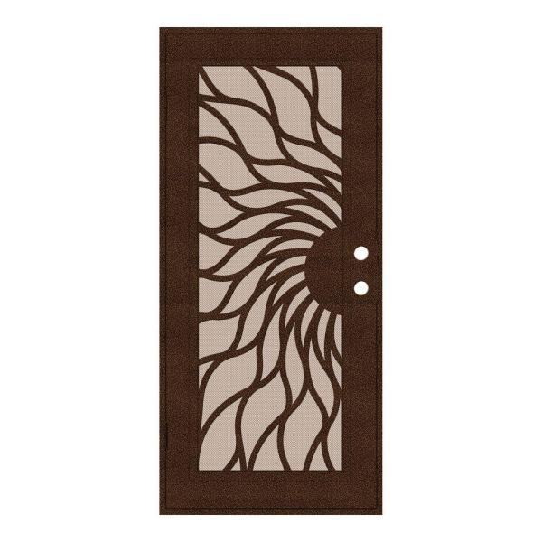 32 in. x 80 in. Sunfire Copperclad Left-Hand Surface Mount Aluminum Security Door with Desert Sand Perforated Screen