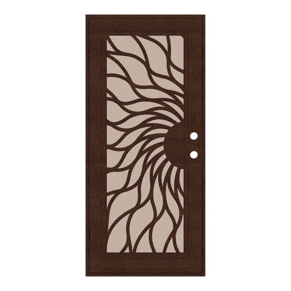 Unique Home Designs 30 in. x 80 in. Sunfire Copperclad Left-Hand Recessed Mount Aluminum Security Door with Desert Sand Perforated Screen