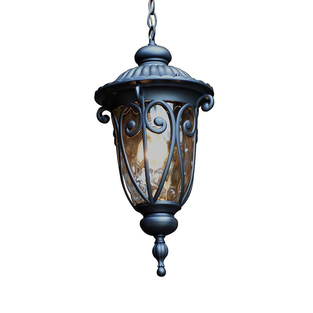 Hailee Matte Black 1-Light Exterior Hanging Lantern