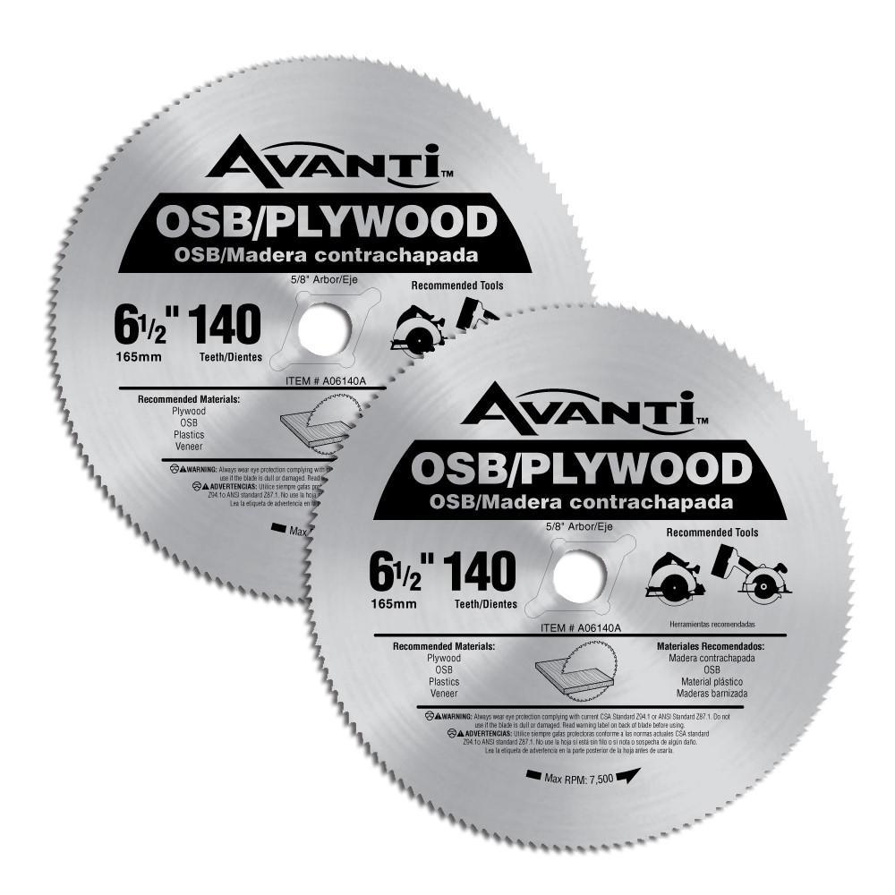 6-1/2 in. x 140-Teeth OSB / Plywood Saw Blades (2-Pack)