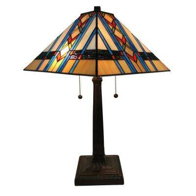 22 in. Multicolored Tiffany Style Mission Table Lamp