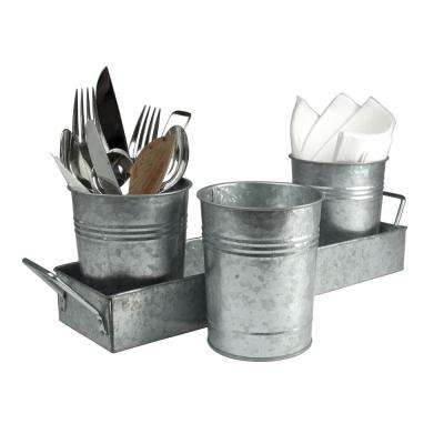 4 in. D x 5 in. H x 17.5 in. L Flatware Caddy with 3 Galvanized 4-Cups