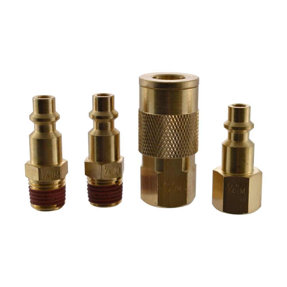 1 4 Npt >> Husky 1 4 In Industrial Npt Plug And Coupler Kit 4 Piece