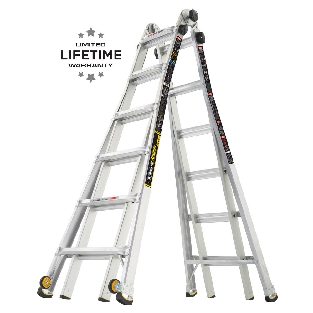 Gorilla Ladders 26 ft  Reach MPX Aluminum Multi-Position Ladder with Wheels