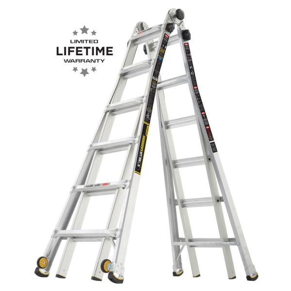 Gorilla Ladders 26 Ft Reach Mpx Aluminum Multi Position Ladder With Wheels Glmpx 26w The Home Depot