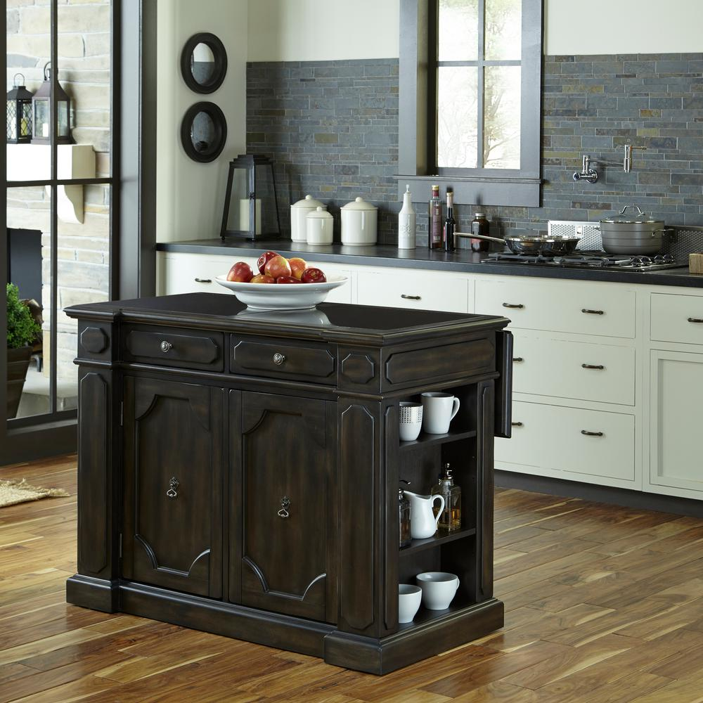 Hacienda Weathered Walnut Kitchen Island With Drop Leaf