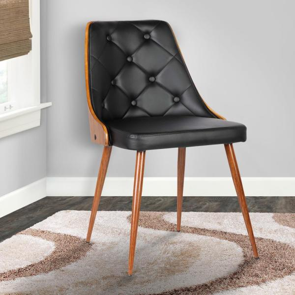 Armen Living Lily 31 in. Black Faux Leather and Walnut Wood