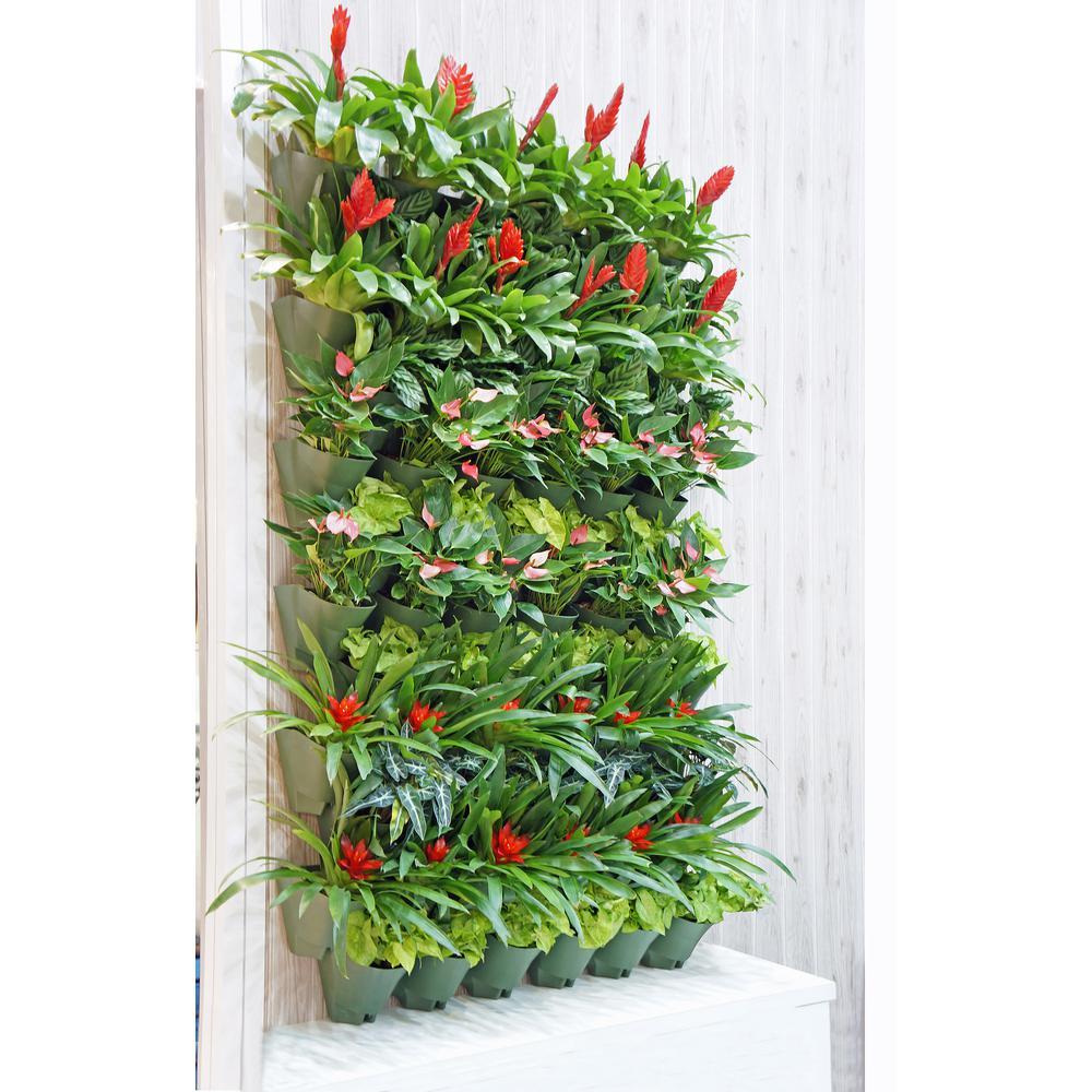 Worth Garden Olive Green Self-Watering 1 Set 3 Pockets Vertical Wall Garden Planters