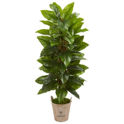 Indoor 63-In. Large Leaf Philodendron Artificial Plant in Farmhouse Planter