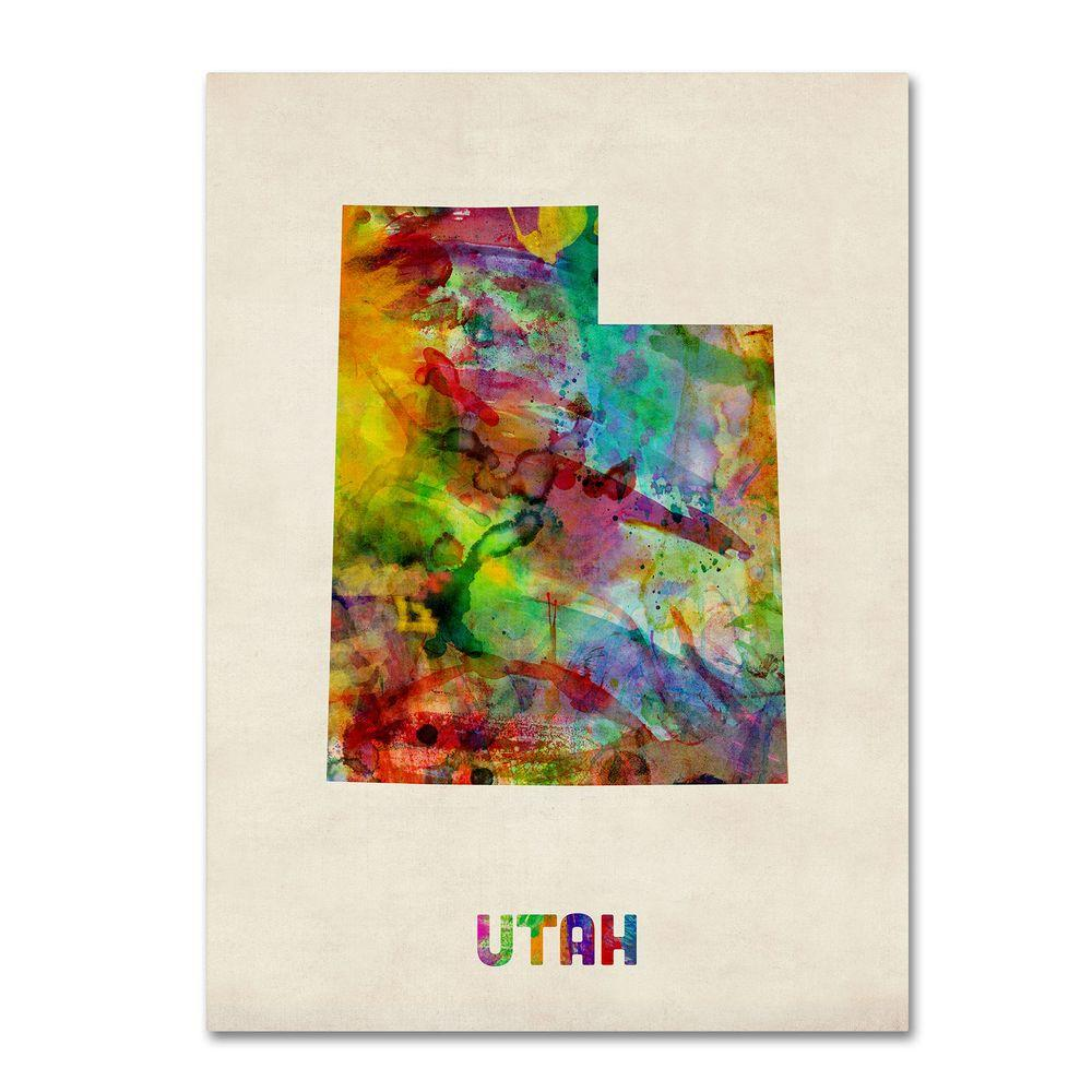 Trademark 14 in. x 19 in. Utah Map Canvas Art