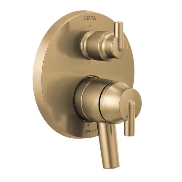 Trinsic 2-Handle Wall-Mount Valve Trim Kit with 6-Setting Integrated Diverter in Champagne Bronze (Valve not Included)