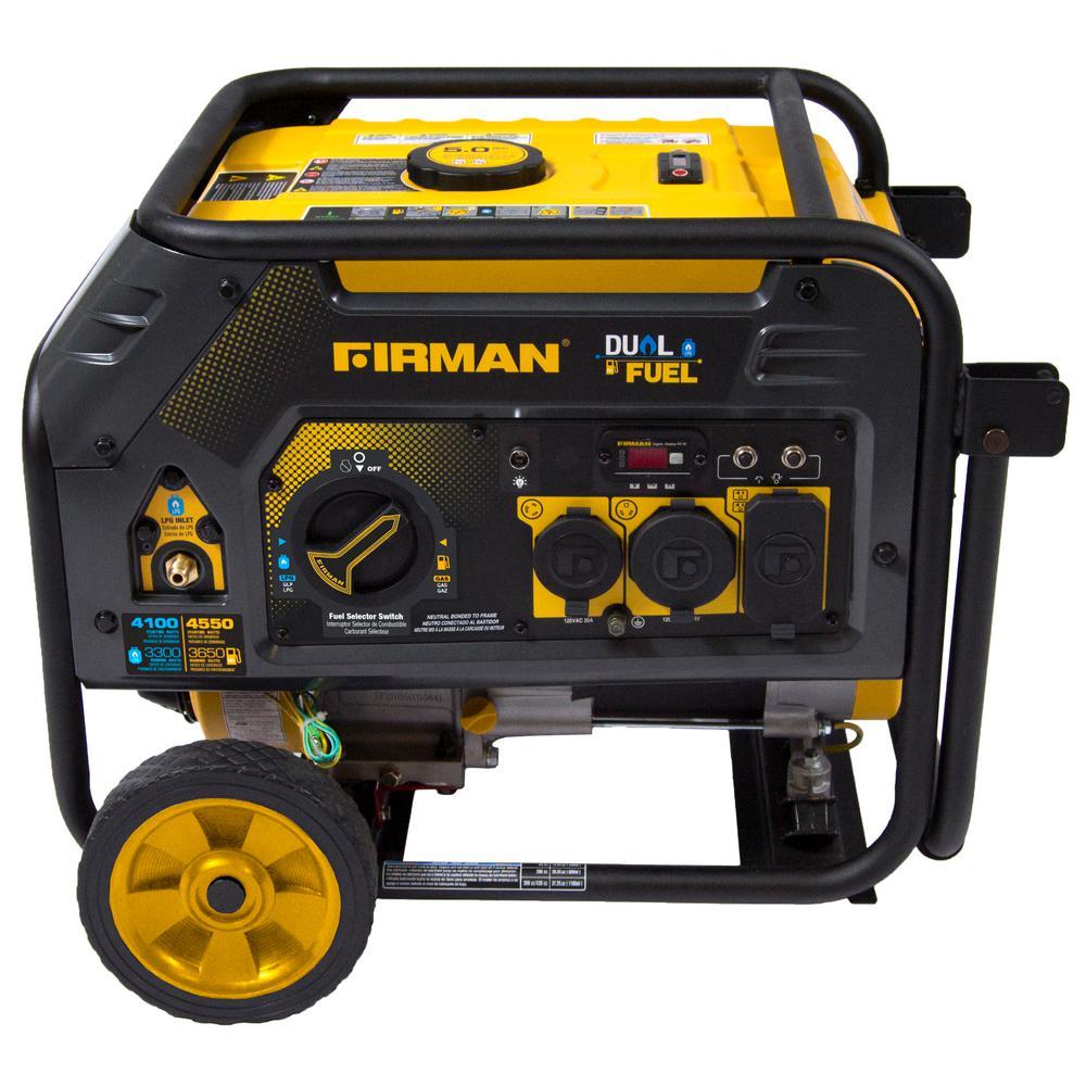 Hybrid 3,650-Watt Dual Fuel Powered Manual Start Portable Generator with FIRMAN Engine