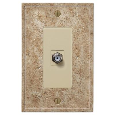 Talia 1 Gang Coax Resin Wall Plate - Noce