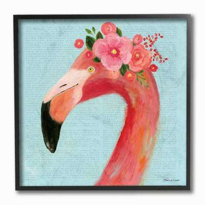 "12 in. x 12 in. ""Floral Flamingo Blue Portrait"" by Stephanie Workman Marrott Framed Wall Art"