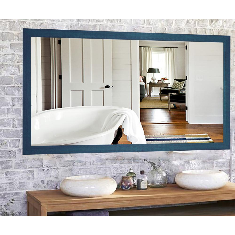 64 in. x 35 in. Country Cottage Blue Framed Double Vanity Mirror ...
