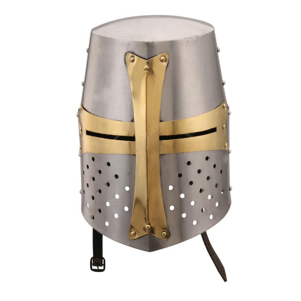 Silver and Gold Medieval Brass Crusader Helmet