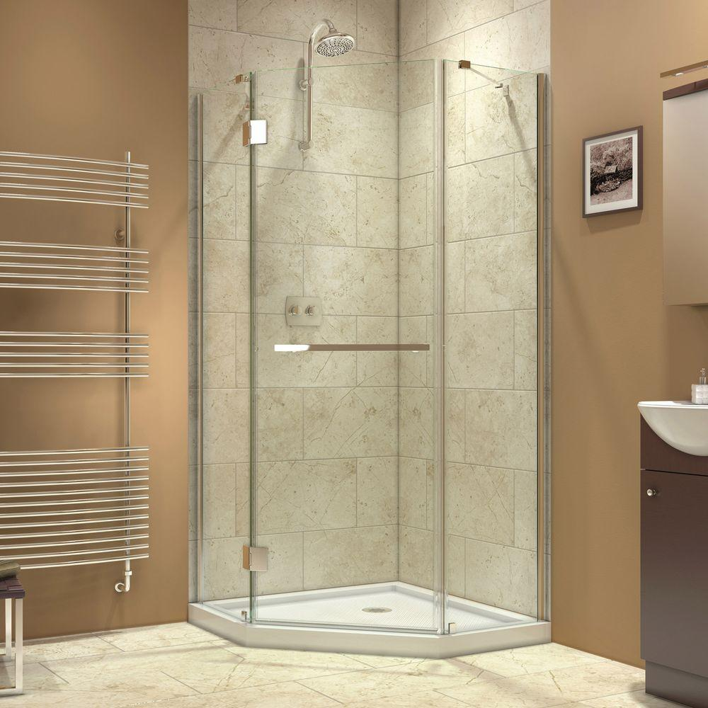 DreamLine Prism-X 36-3/8 in. x 36-3/8 in. x 72 in. Semi-Framed Hinged Shower Enclosure in Chrome