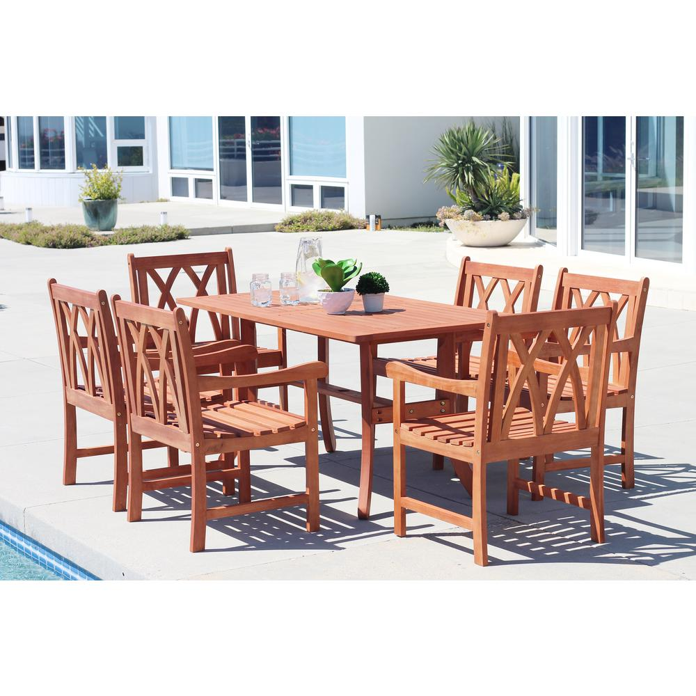 Vifah Malibu Hardwood 7 Piece Outdoor Rectangle Patio
