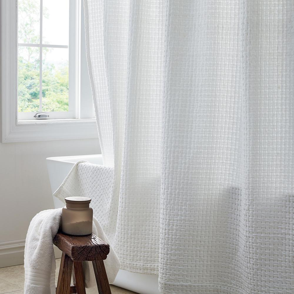Basket Weave 72 in. White Shower Curtain
