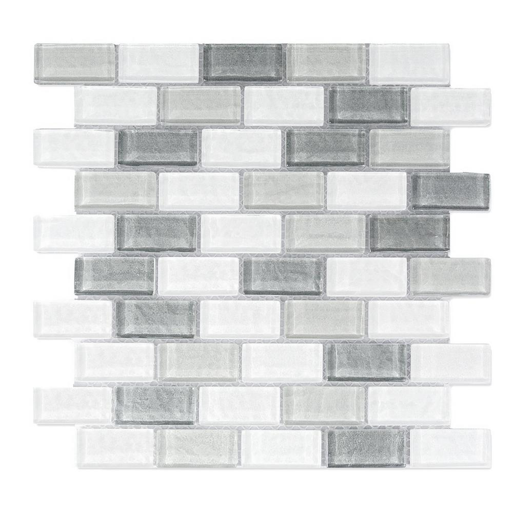 Gray Mosaic 1 in. x 2 in. Textured Glass Mesh Mounted