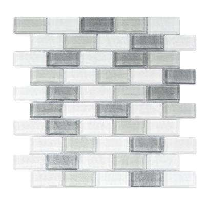 Geo Monte Sagro Gray Linear Mosaic 1 in. x 2 in. Textured Glass Wall and Pool Tile (0.76 Sq. ft.)