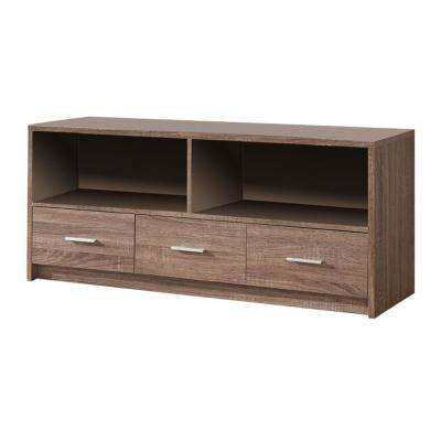 Grey Wood TV Stand with Drawers