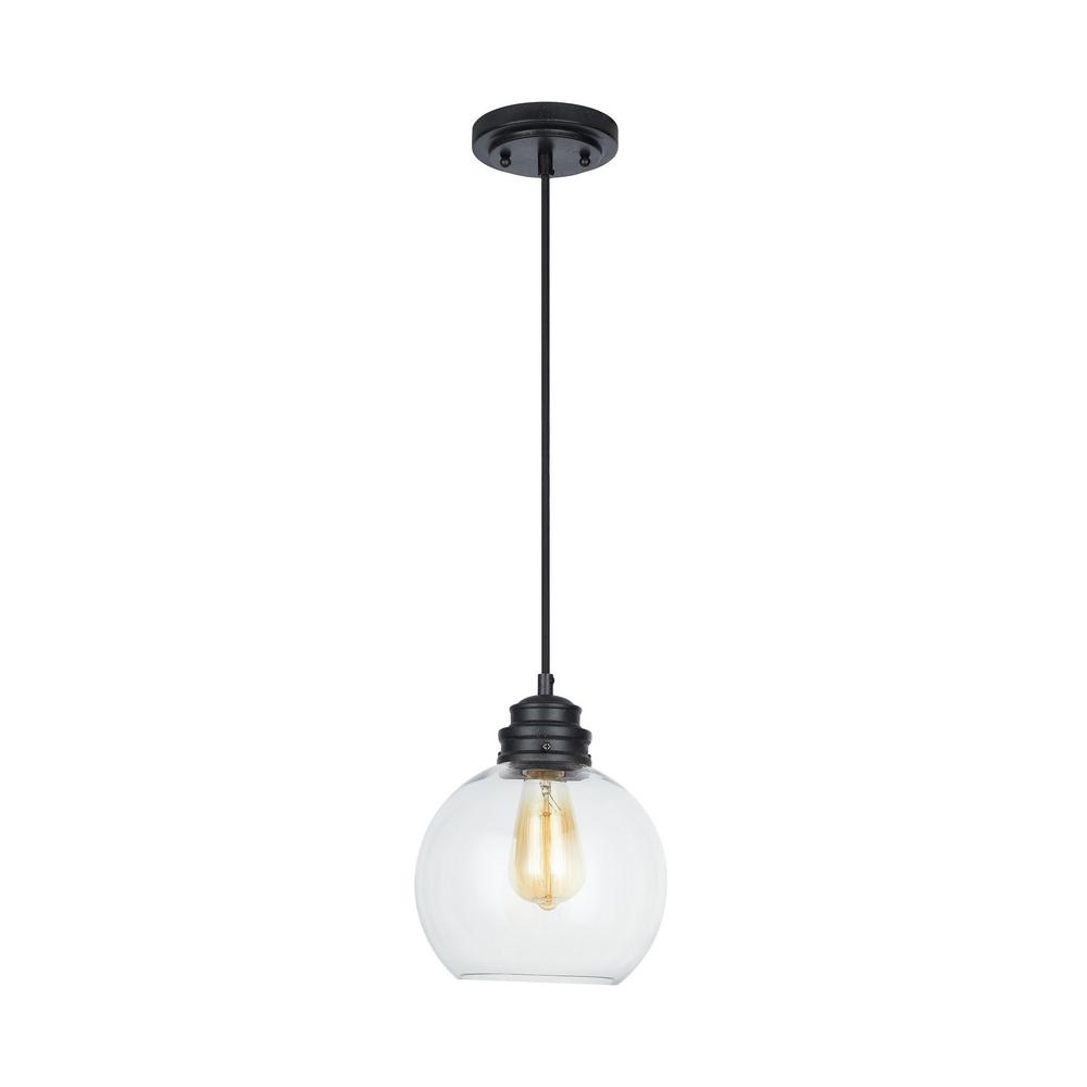 Home Decorators Collection 1-Light Aged Bronze Pendant with Clear Glass Globe