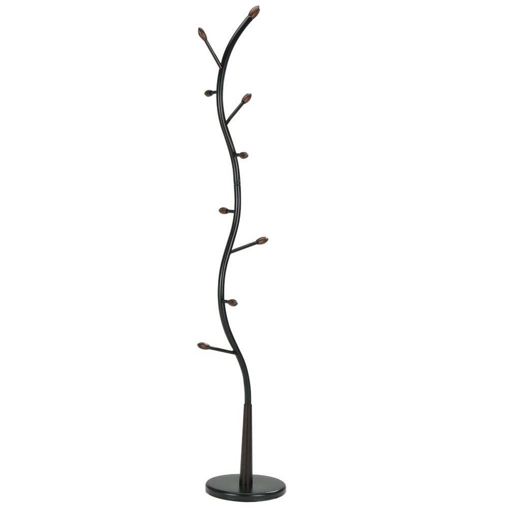 Black and Walnut 8-Hook Hall Tree Coat and Hat Stand