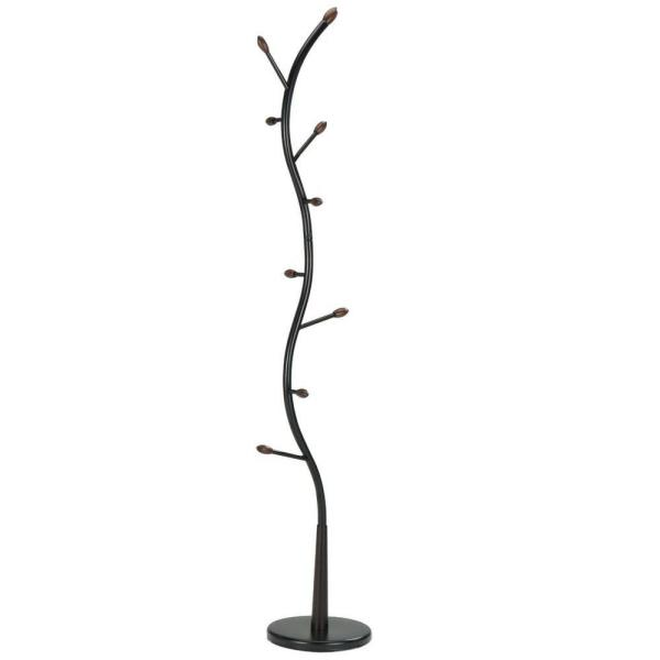 Kings Brand Furniture Black and Walnut 8-Hook Hall Tree Coat and